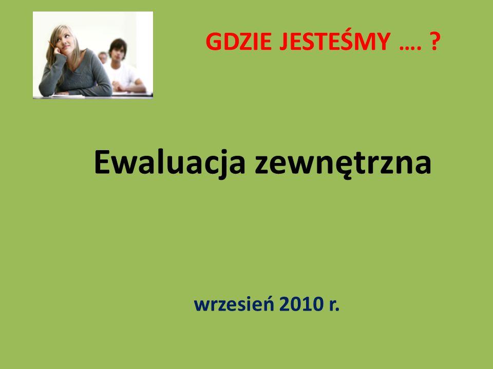 GDZIE JESTEŚMY …. Ewaluacja zewnętrzna wrzesień 2010 r.