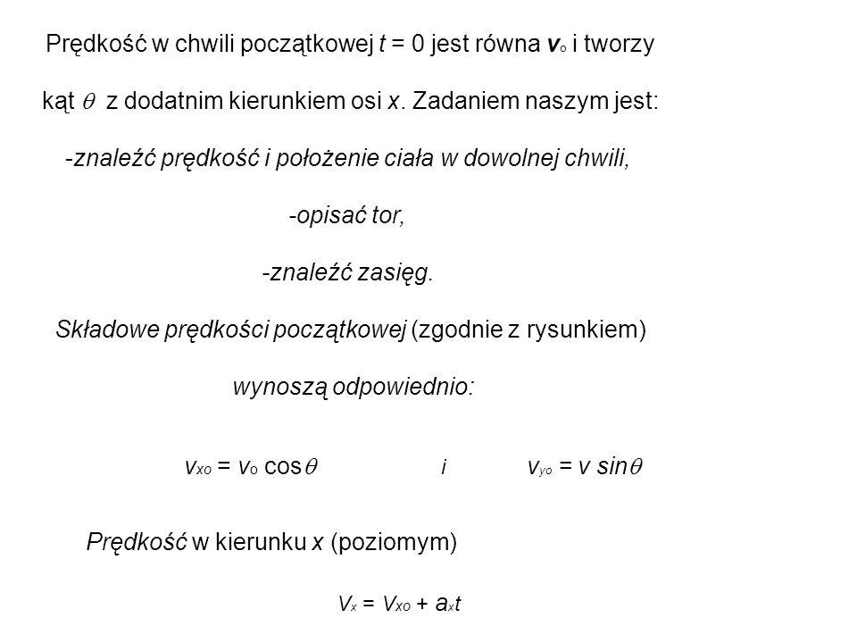 Prędkość w chwili początkowej t = 0 jest równa vo i tworzy
