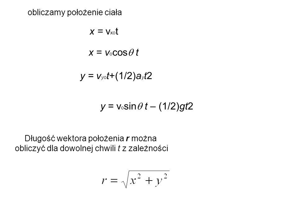 x = vxot y = vyot+(1/2)ayt2 obliczamy położenie ciała