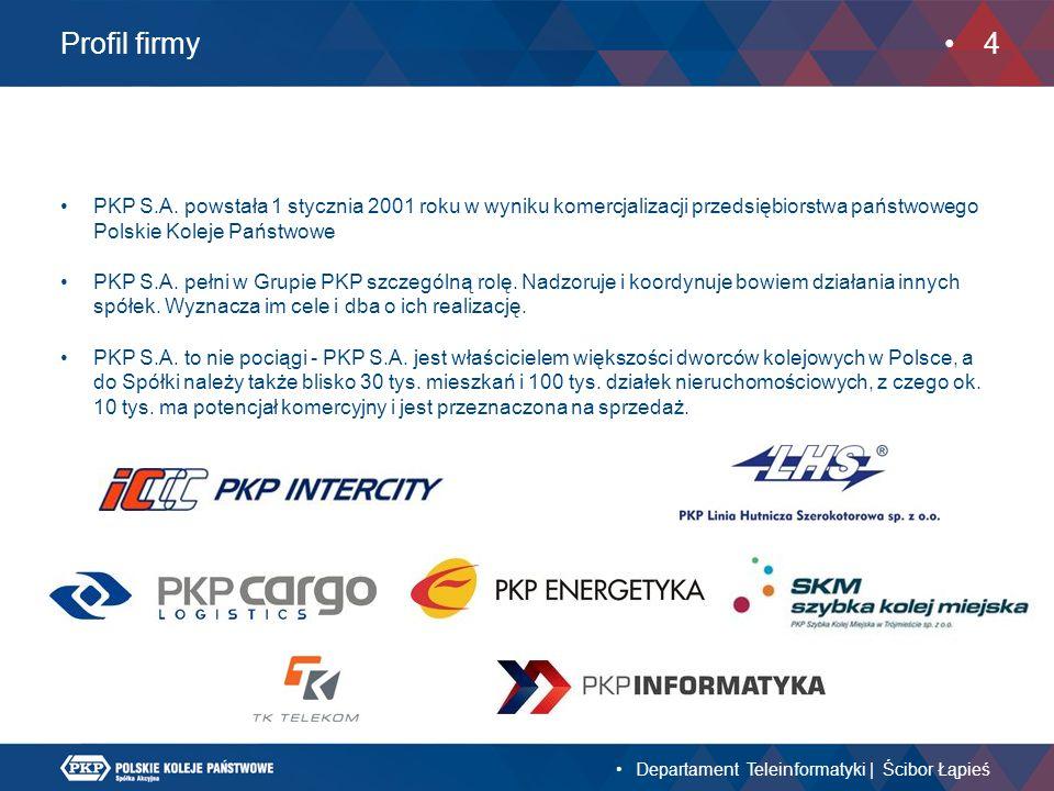 Profil firmy PKP S.A. powstała 1 stycznia 2001 roku w wyniku komercjalizacji przedsiębiorstwa państwowego Polskie Koleje Państwowe.