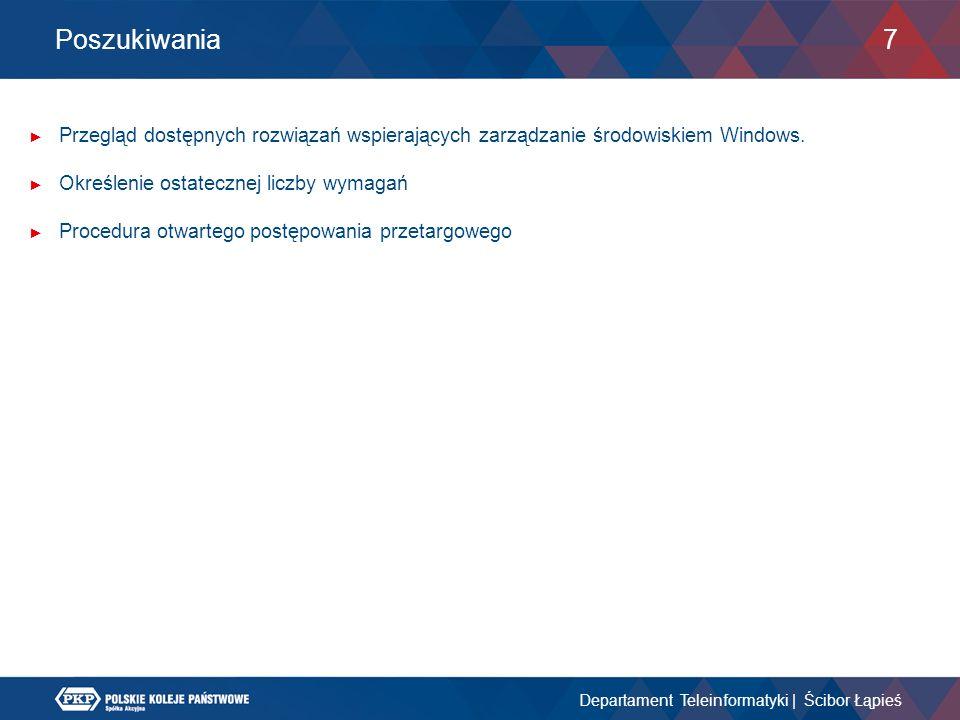 Poszukiwania Przegląd dostępnych rozwiązań wspierających zarządzanie środowiskiem Windows. Określenie ostatecznej liczby wymagań.