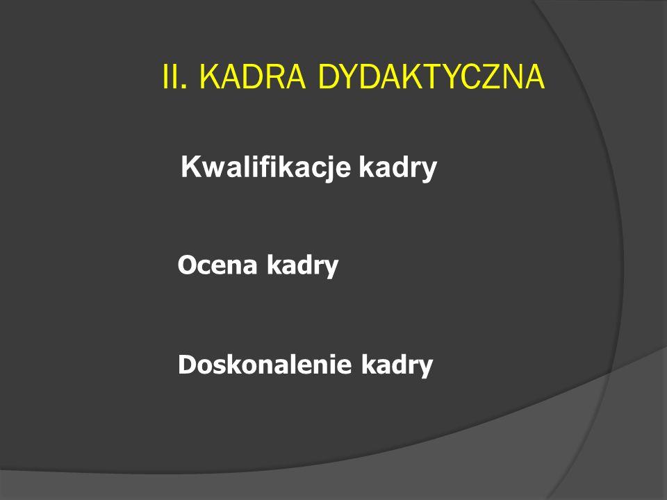 II. KADRA DYDAKTYCZNA Kwalifikacje kadry Ocena kadry