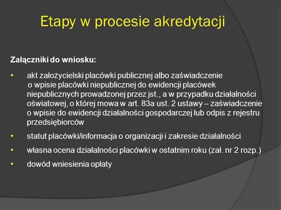 Etapy w procesie akredytacji