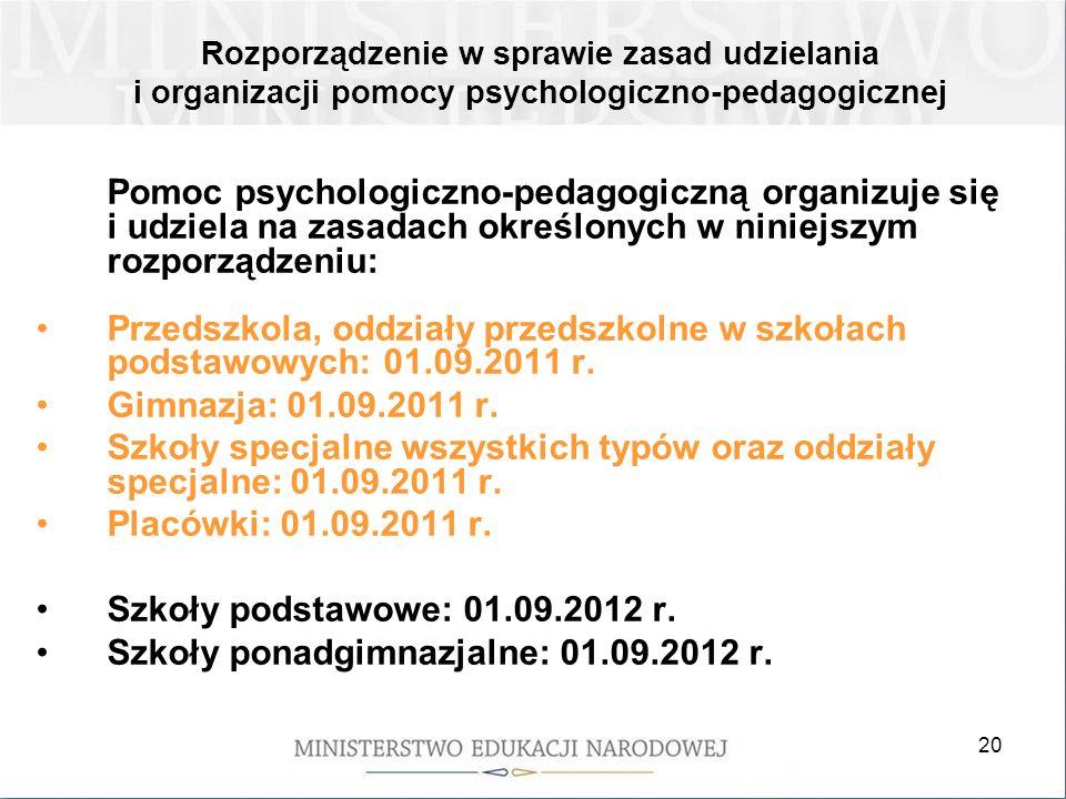 Szkoły ponadgimnazjalne: 01.09.2012 r.