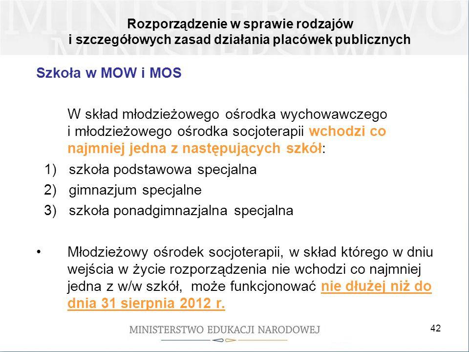 1) szkoła podstawowa specjalna 2) gimnazjum specjalne