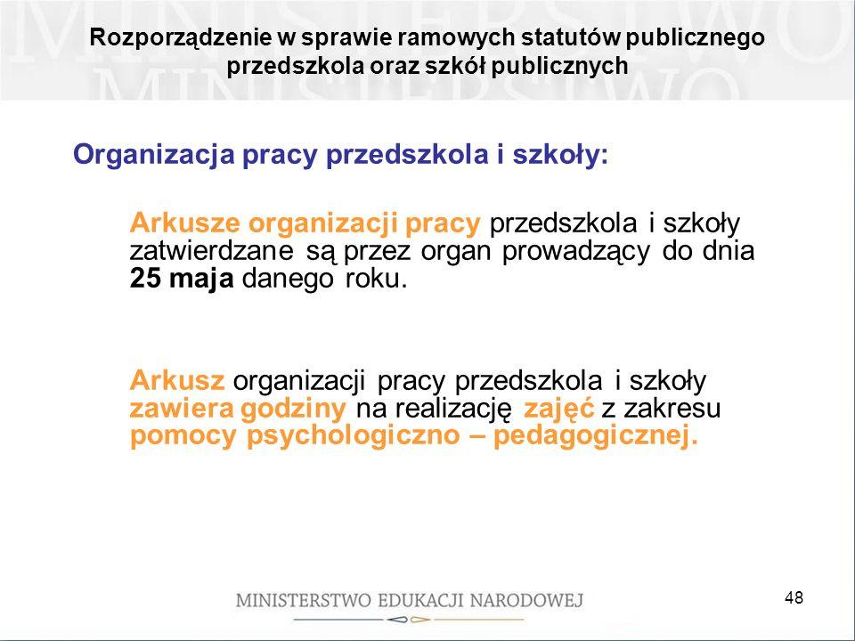 Organizacja pracy przedszkola i szkoły: