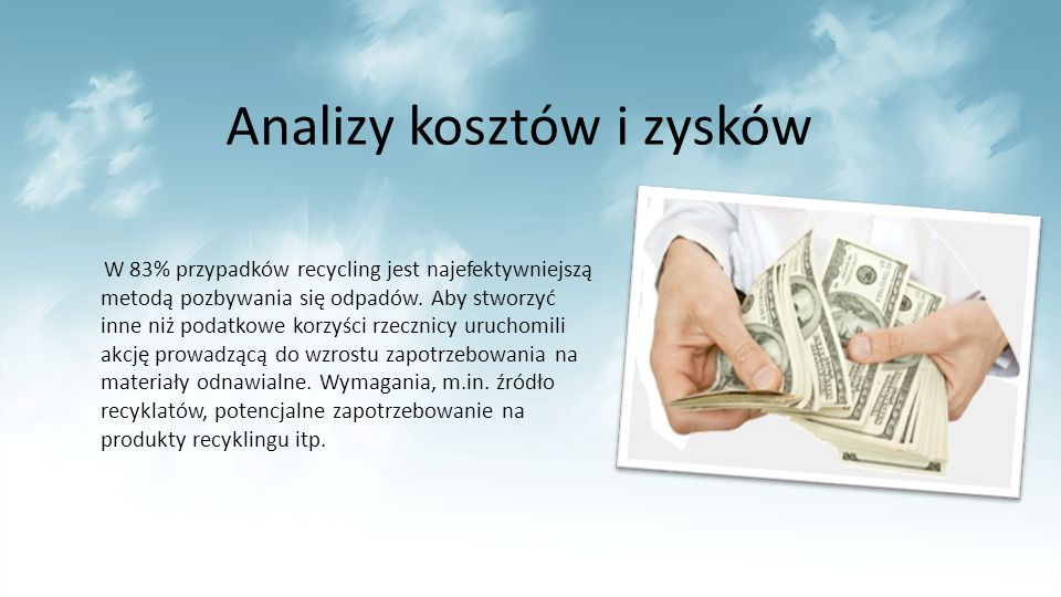 Analizy kosztów i zysków