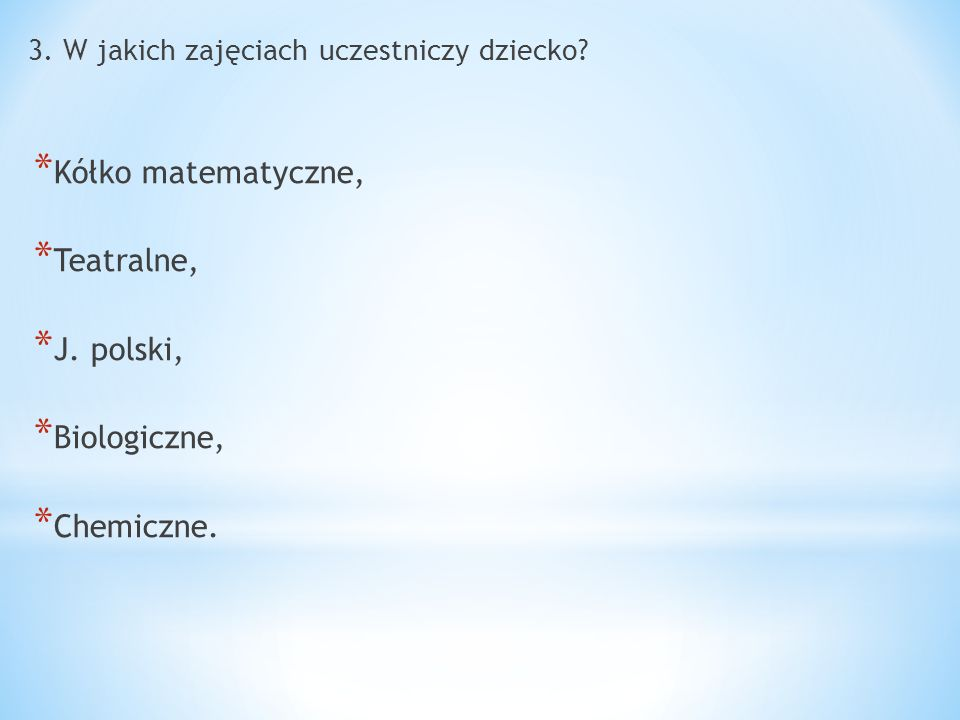 Kółko matematyczne, Teatralne, J. polski, Biologiczne, Chemiczne.