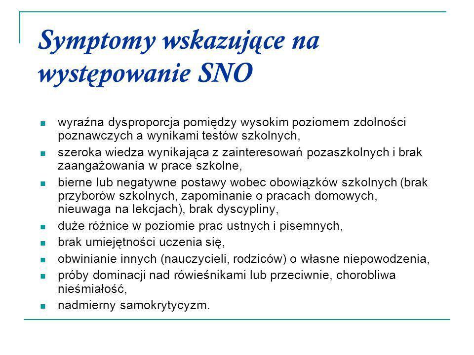 Symptomy wskazujące na występowanie SNO