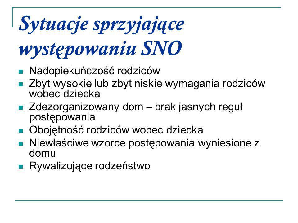 Sytuacje sprzyjające występowaniu SNO
