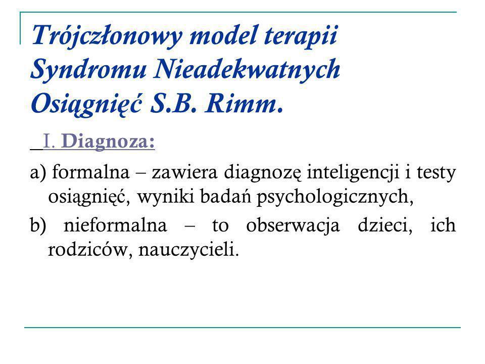 Trójczłonowy model terapii Syndromu Nieadekwatnych Osiągnięć S.B. Rimm.
