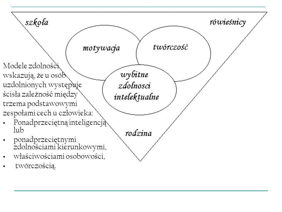 Modele zdolnościwskazują, że u osób. uzdolnionych występuje. ścisła zależność między. trzema podstawowymi.