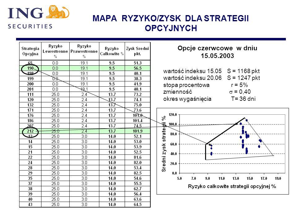 MAPA RYZYKO/ZYSK DLA STRATEGII OPCYJNYCH