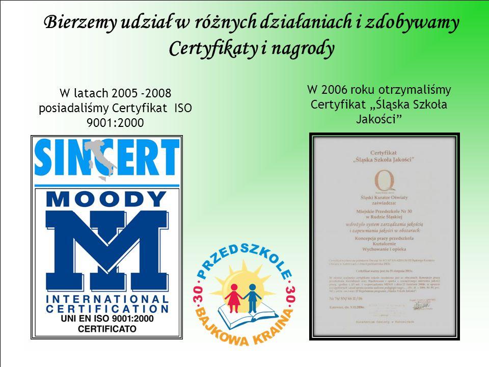 Bierzemy udział w różnych działaniach i zdobywamy Certyfikaty i nagrody