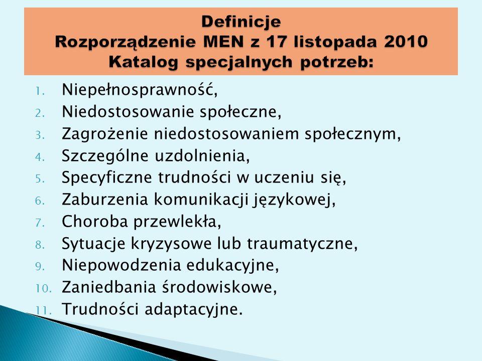 Definicje Rozporządzenie MEN z 17 listopada 2010 Katalog specjalnych potrzeb: