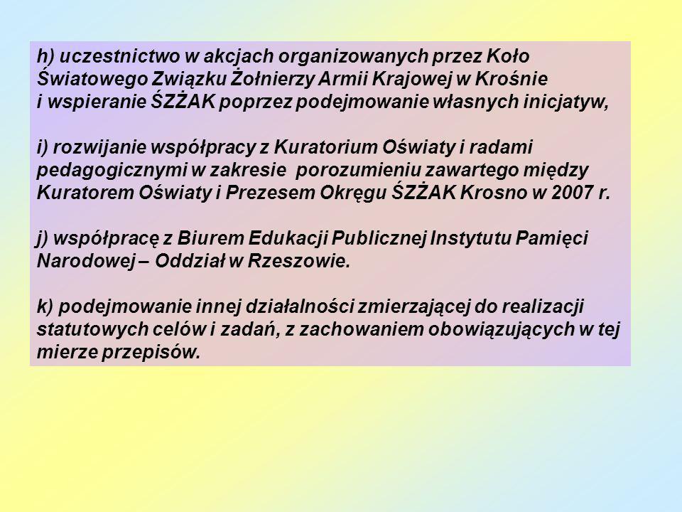 h) uczestnictwo w akcjach organizowanych przez Koło Światowego Związku Żołnierzy Armii Krajowej w Krośnie