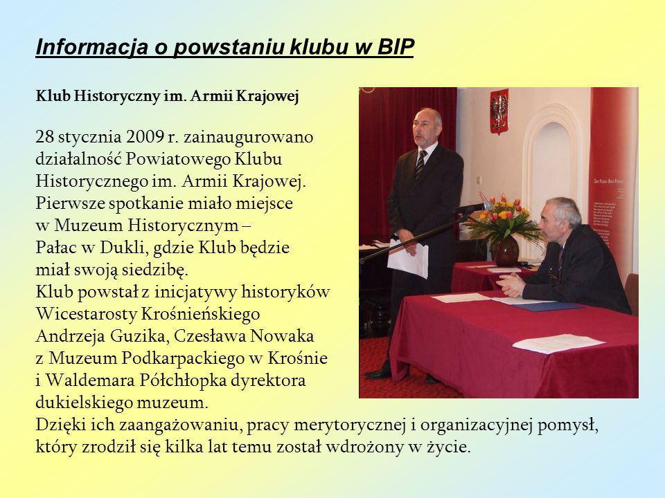 Informacja o powstaniu klubu w BIP
