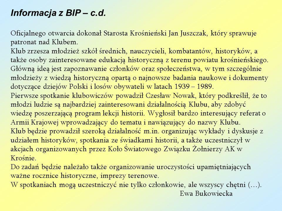 Informacja z BIP – c.d.