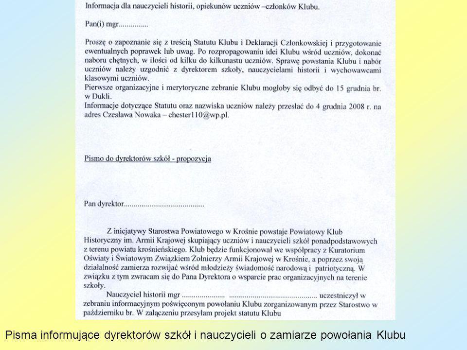 Pisma informujące dyrektorów szkół i nauczycieli o zamiarze powołania Klubu