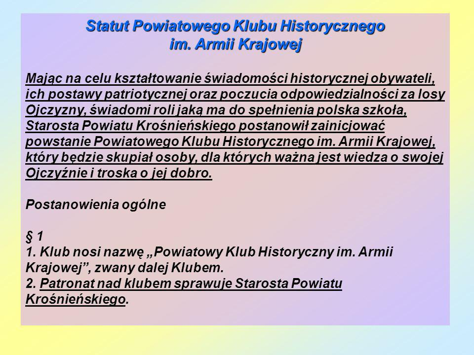 Statut Powiatowego Klubu Historycznego