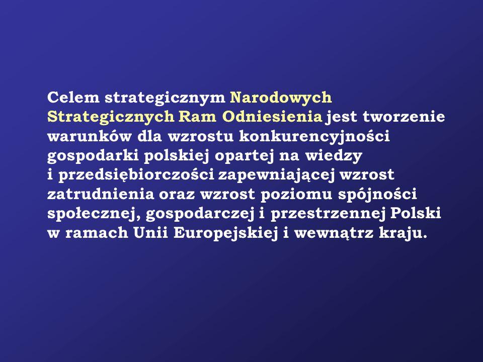 Celem strategicznym Narodowych Strategicznych Ram Odniesienia jest tworzenie warunków dla wzrostu konkurencyjności gospodarki polskiej opartej na wiedzy i przedsiębiorczości zapewniającej wzrost zatrudnienia oraz wzrost poziomu spójności społecznej, gospodarczej i przestrzennej Polski w ramach Unii Europejskiej i wewnątrz kraju.