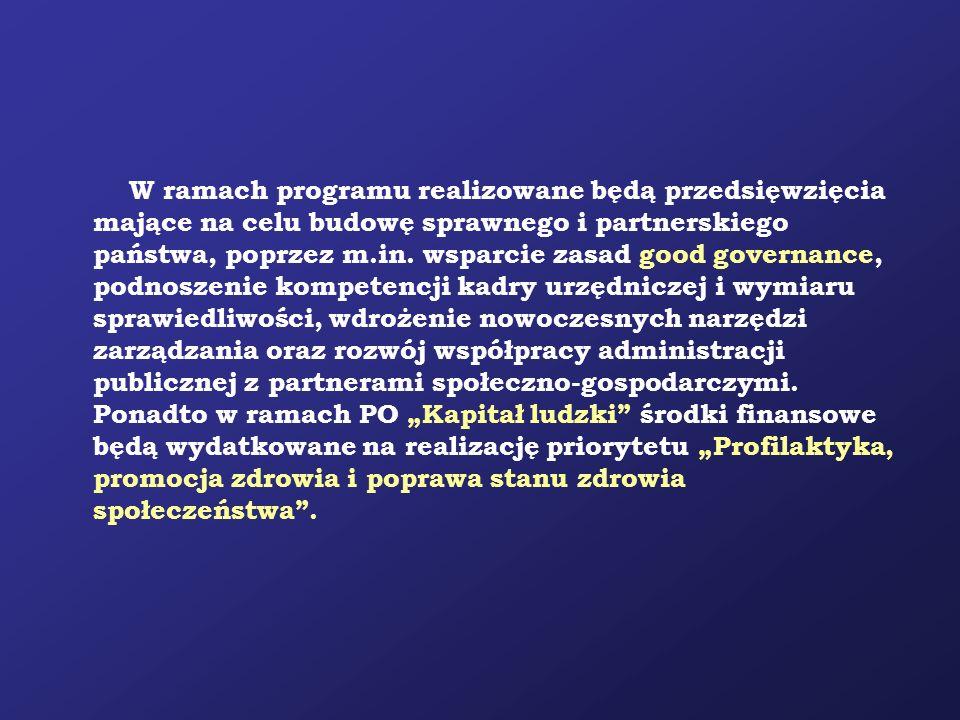 W ramach programu realizowane będą przedsięwzięcia mające na celu budowę sprawnego i partnerskiego państwa, poprzez m.in.