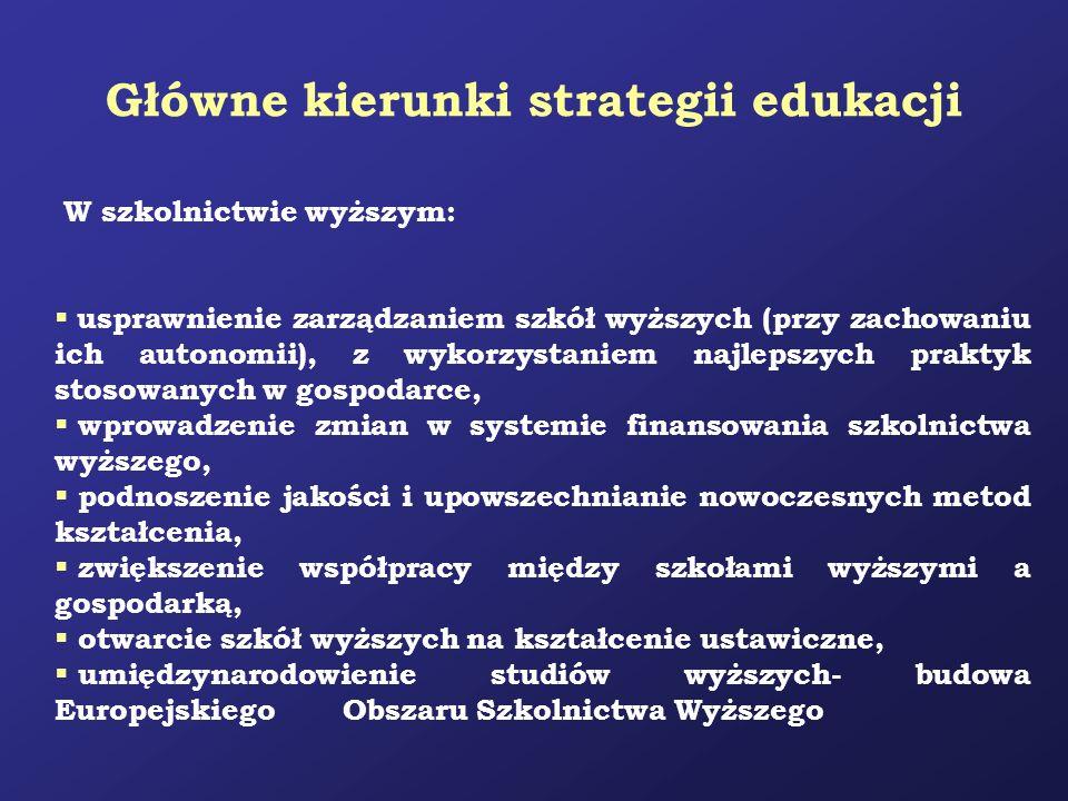 Główne kierunki strategii edukacji