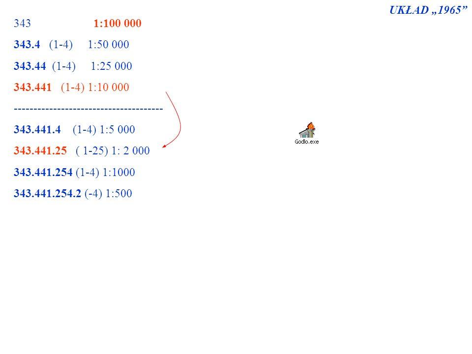 """UKŁAD """"1965 343 1:100 000. 343.4 (1-4) 1:50 000. 343.44 (1-4) 1:25 000."""