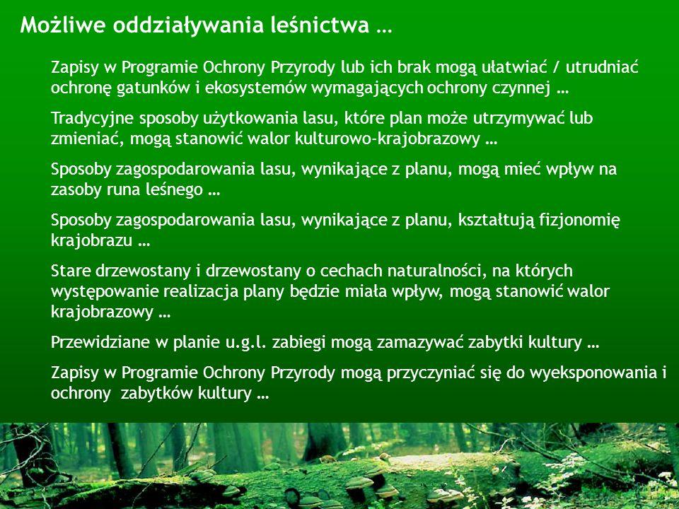 Możliwe oddziaływania leśnictwa …