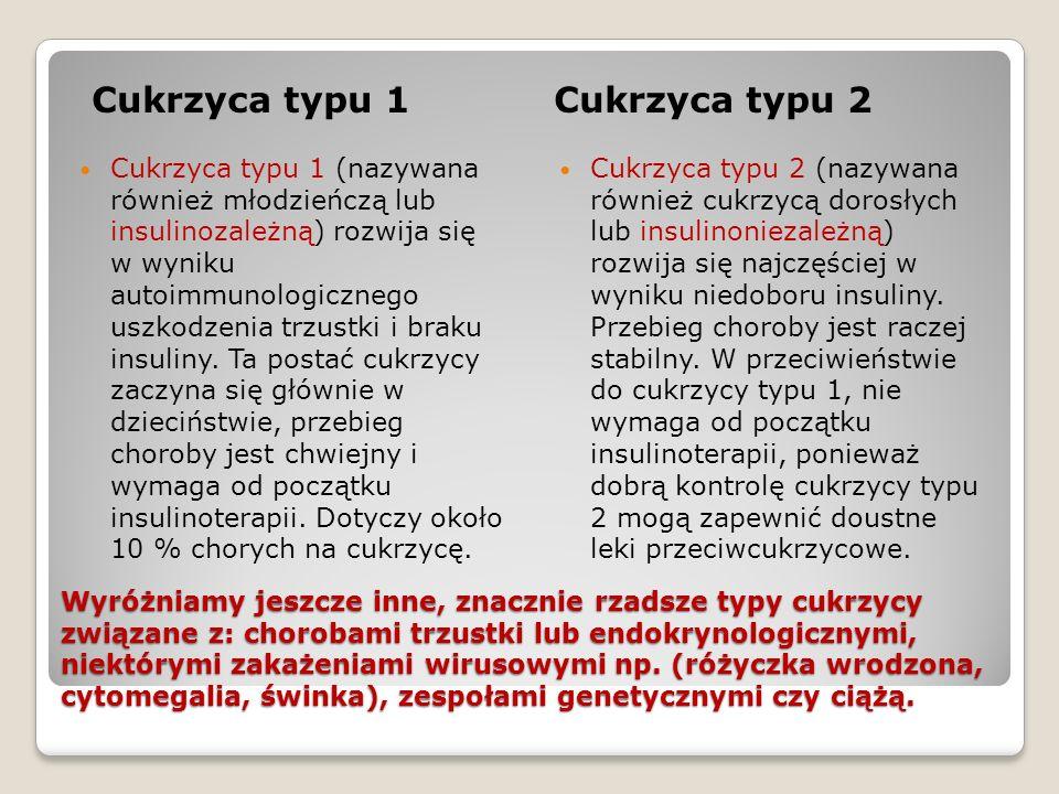 Cukrzyca typu 1 Cukrzyca typu 2