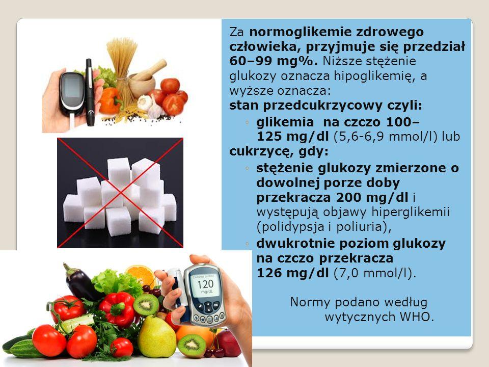 Za normoglikemie zdrowego człowieka, przyjmuje się przedział 60–99 mg%