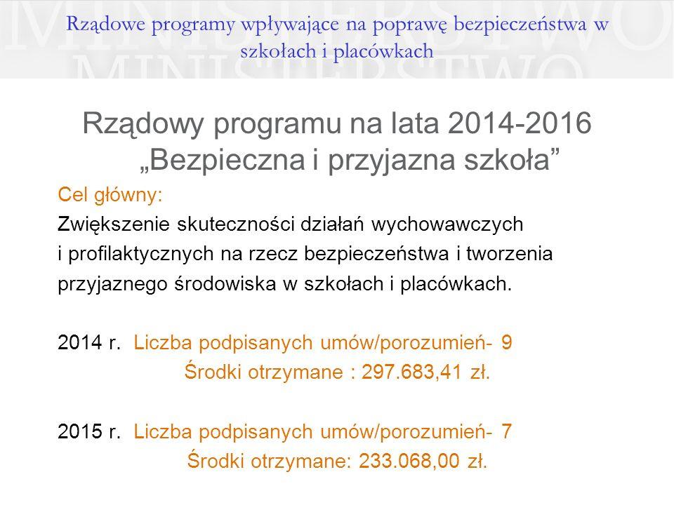 """Rządowy programu na lata 2014-2016 """"Bezpieczna i przyjazna szkoła"""