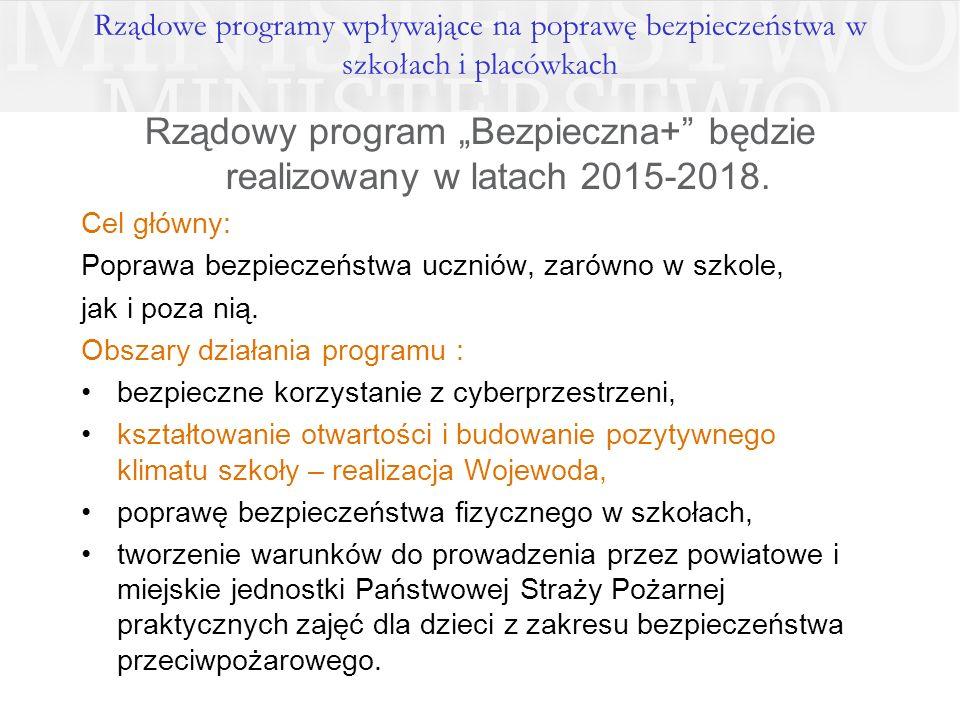 """Rządowy program """"Bezpieczna+ będzie realizowany w latach 2015-2018."""
