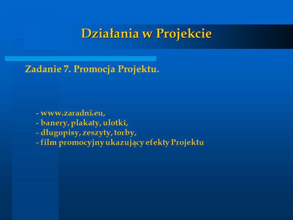 Działania w Projekcie Zadanie 7. Promocja Projektu. - www.zaradni.eu,