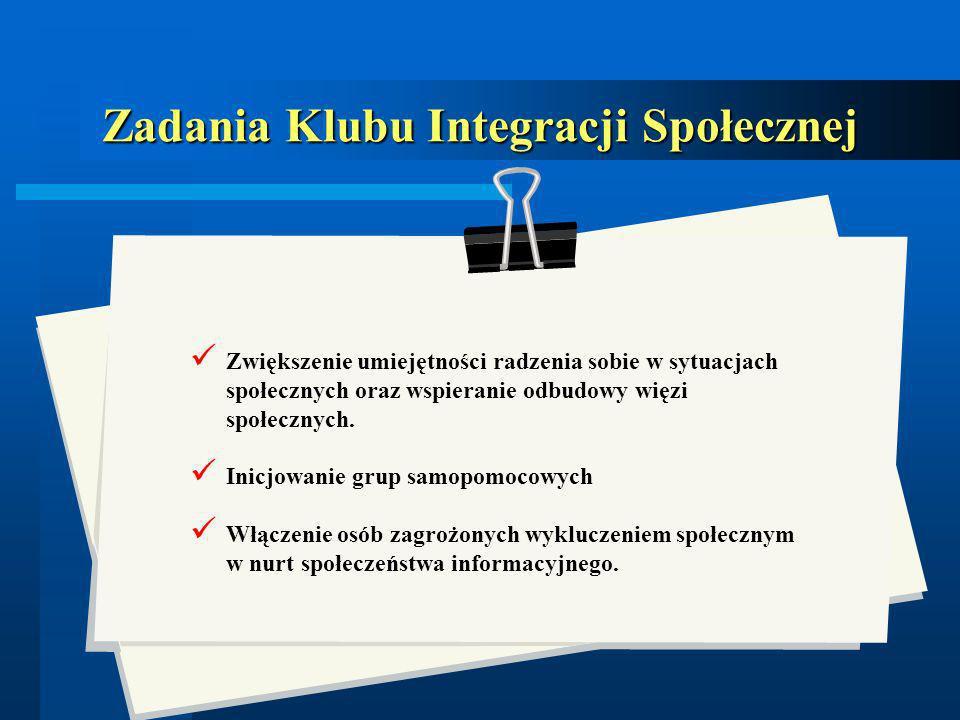 Zadania Klubu Integracji Społecznej