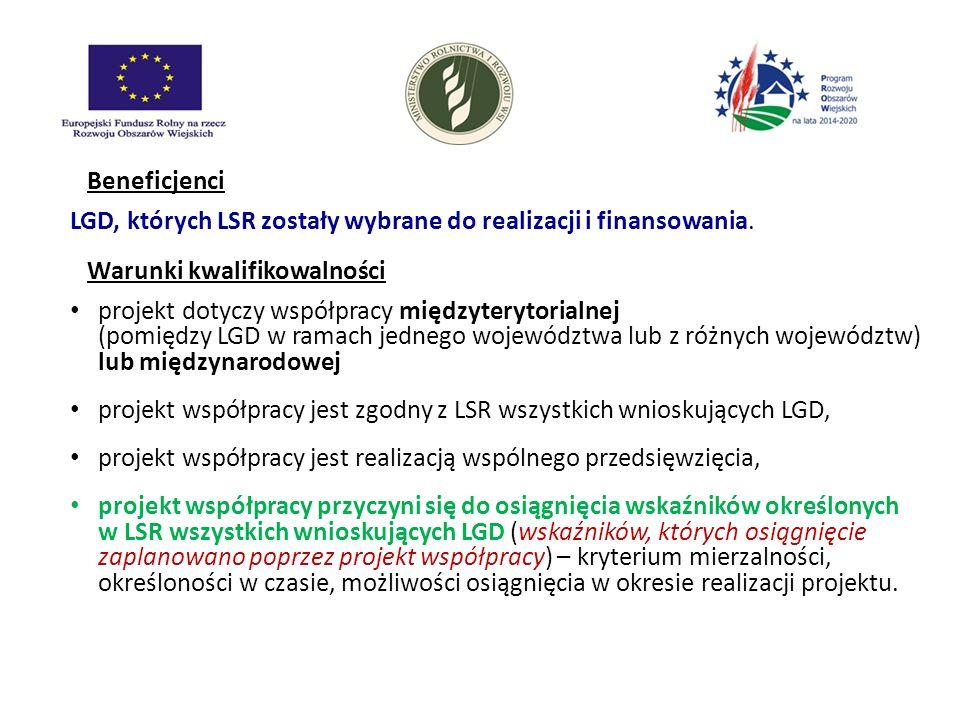 LGD, których LSR zostały wybrane do realizacji i finansowania.