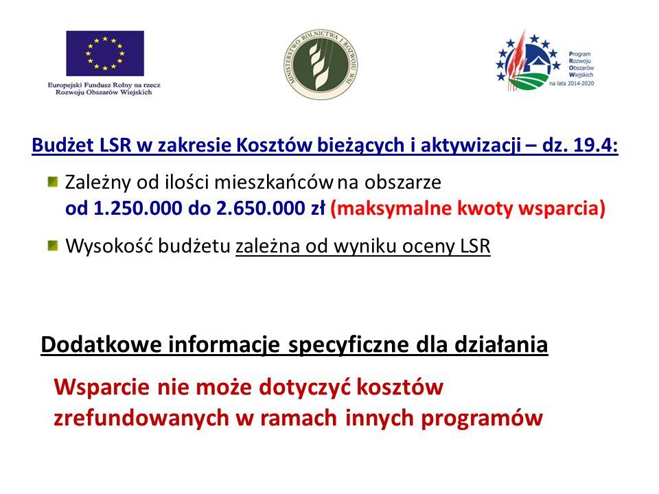 Budżet LSR w zakresie Kosztów bieżących i aktywizacji – dz. 19.4: