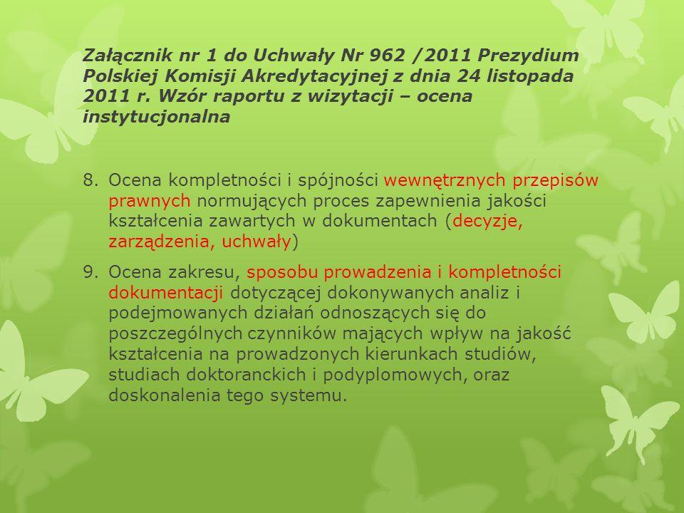 Załącznik nr 1 do Uchwały Nr 962 /2011 Prezydium Polskiej Komisji Akredytacyjnej z dnia 24 listopada 2011 r. Wzór raportu z wizytacji – ocena instytucjonalna