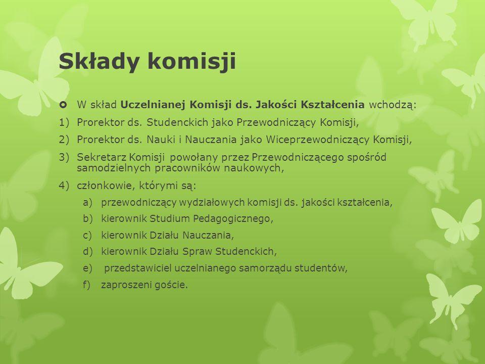 Składy komisjiW skład Uczelnianej Komisji ds. Jakości Kształcenia wchodzą: Prorektor ds. Studenckich jako Przewodniczący Komisji,