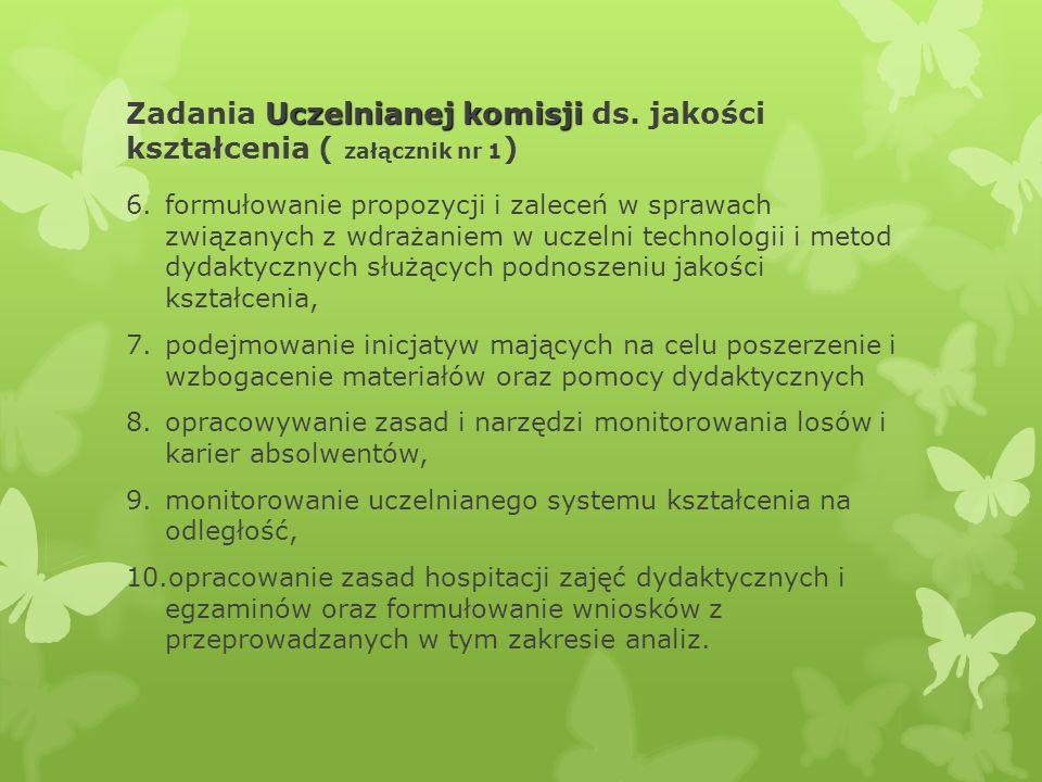 Zadania Uczelnianej komisji ds. jakości kształcenia ( załącznik nr 1)