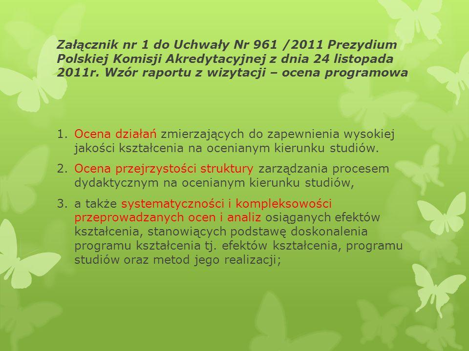 Załącznik nr 1 do Uchwały Nr 961 /2011 Prezydium Polskiej Komisji Akredytacyjnej z dnia 24 listopada 2011r. Wzór raportu z wizytacji – ocena programowa