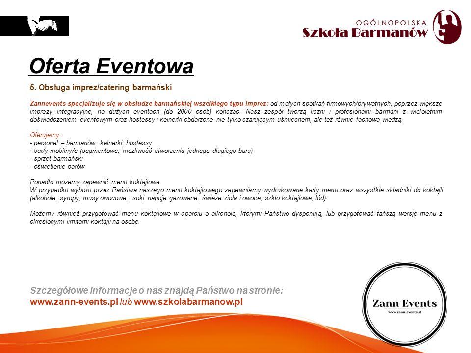 Oferta Eventowa 5. Obsługa imprez/catering barmański.