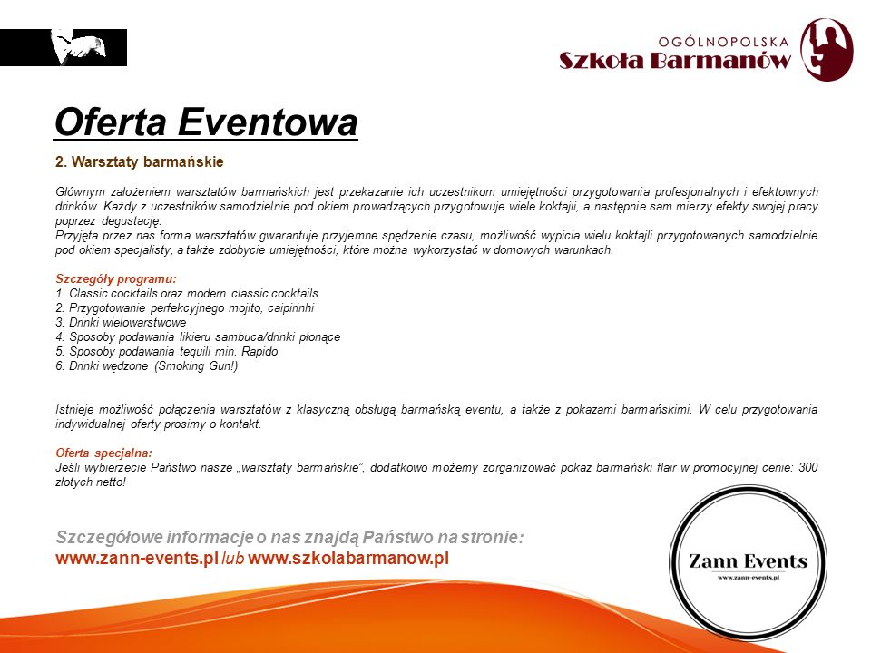 Oferta Eventowa 2. Warsztaty barmańskie.