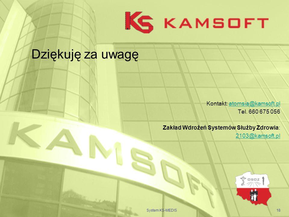 Dziękuję za uwagę Kontakt: atomsia@kamsoft.pl Tel. 660 675 056