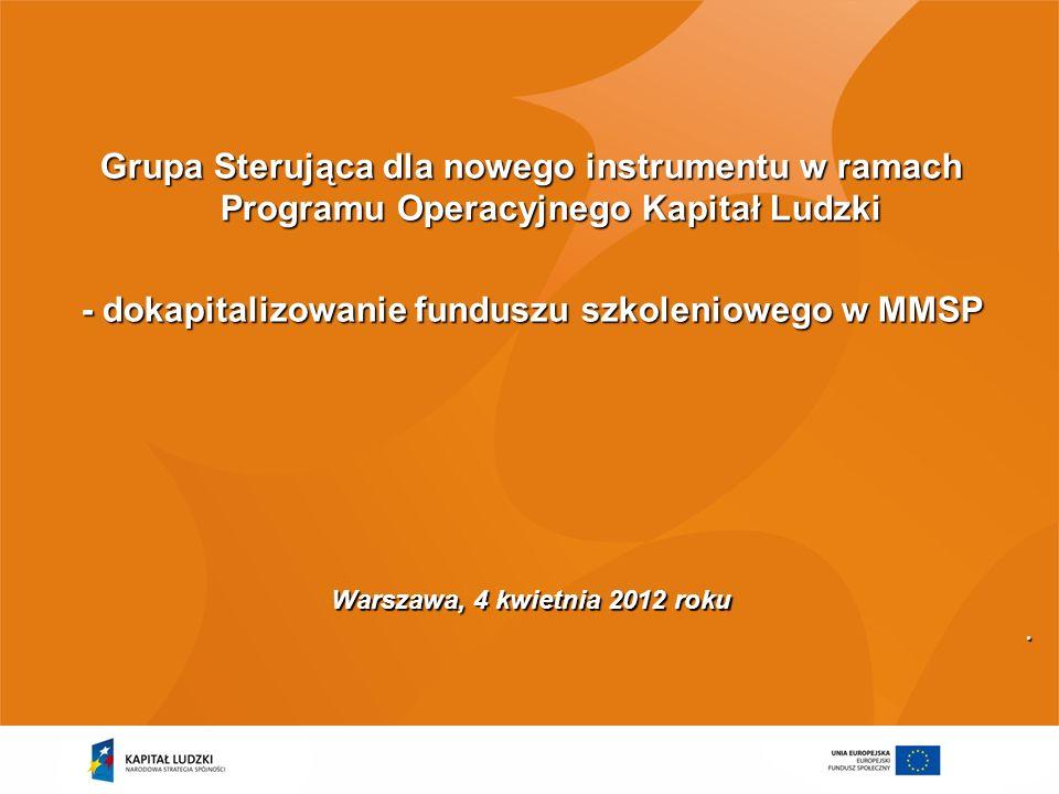 - dokapitalizowanie funduszu szkoleniowego w MMSP