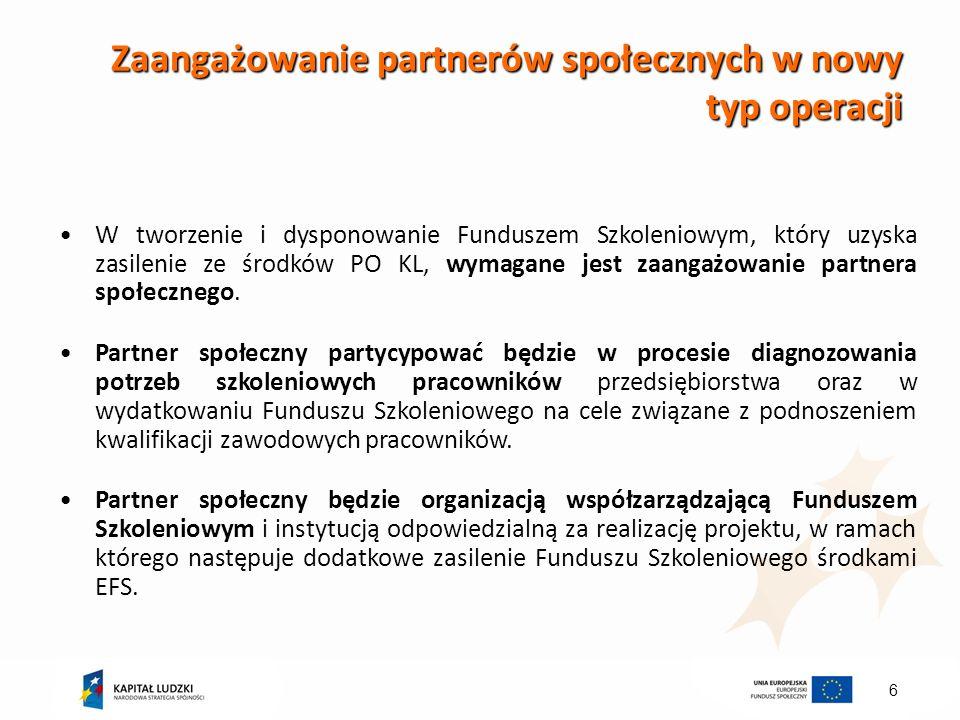 Zaangażowanie partnerów społecznych w nowy typ operacji