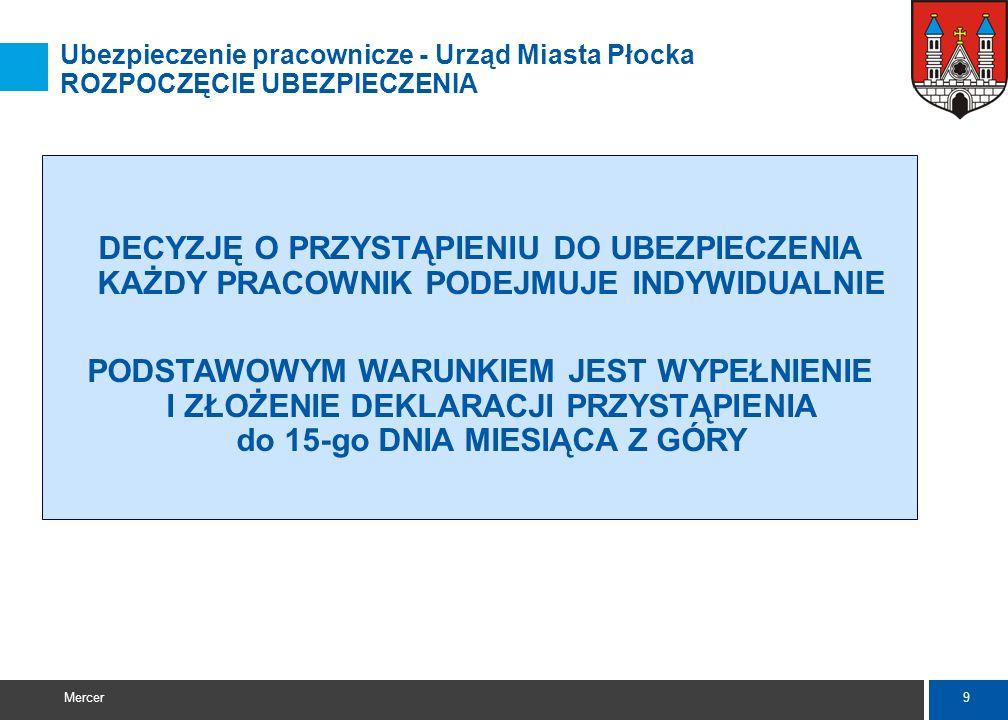 Ubezpieczenie pracownicze - Urząd Miasta Płocka ROZPOCZĘCIE UBEZPIECZENIA