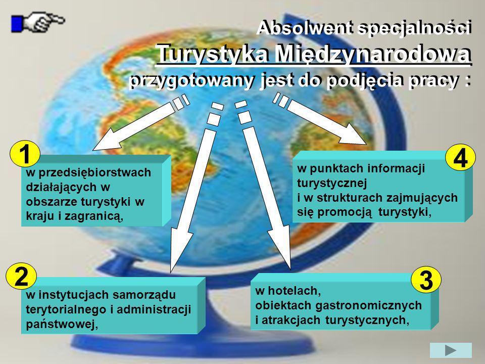 1 4 2 3 Turystyka Międzynarodowa Absolwent specjalności