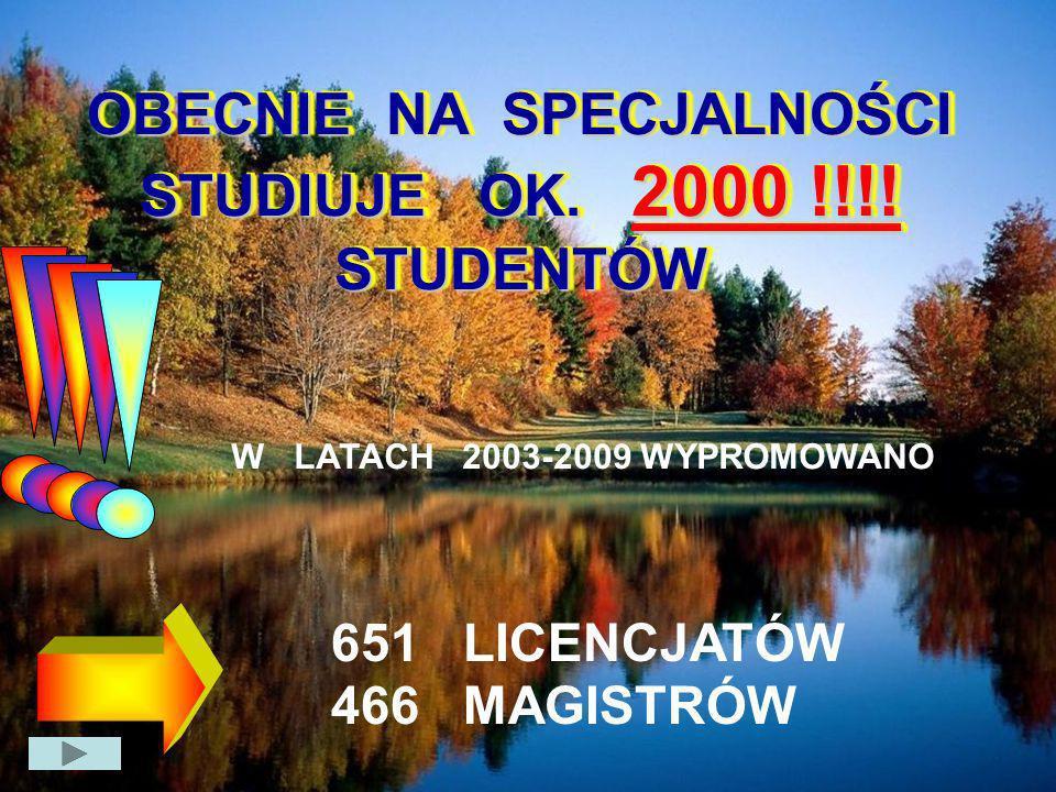 OBECNIE NA SPECJALNOŚCI STUDIUJE OK. 2000 !!!! STUDENTÓW