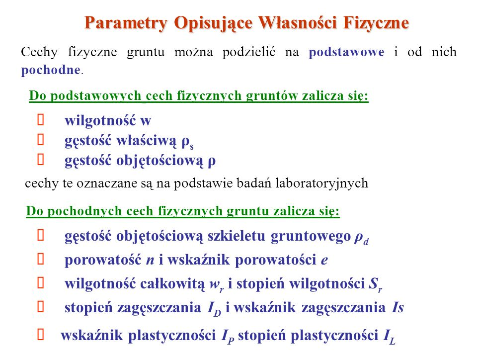 Parametry Opisujące Własności Fizyczne